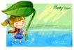 可爱儿童0008,可爱儿童,人物,下雨 大叶 遮挡