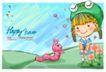 可爱儿童0009,可爱儿童,人物,青蛙 帽子 小虫