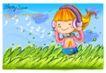 可爱儿童0011,可爱儿童,人物,儿童画 戴耳机 听音乐 草丛