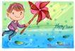 可爱儿童0012,可爱儿童,人物,风车 顽皮孩童 雨天 水面 落叶