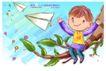 可爱儿童0015,可爱儿童,人物,小男孩 树枝 纸飞机 绿叶片 玩耍的孩子