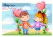 可爱儿童0017,可爱儿童,人物,蝴蝶结 桃心 手牵手
