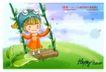 可爱儿童0019,可爱儿童,人物,秋千 帽子 水珠