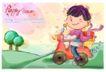 可爱儿童0020,可爱儿童,人物,摩托车 送货 礼物