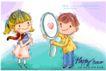 可爱儿童0031,可爱儿童,人物,红蝴蝶结女孩 黄色上衣男孩 圆形的镜子