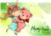 可爱儿童0032,可爱儿童,人物,小熊娃娃 奔跑的女孩 欢乐时光