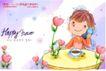 可爱儿童0033,可爱儿童,人物,圆桌子 打电话男孩 咖啡