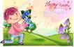 可爱儿童0035,可爱儿童,人物,紫色花藤 蓝玫瑰 单膝跪地男孩