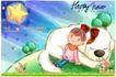 可爱儿童0037,可爱儿童,人物,闪闪星星 抬头仰望女孩 熟睡的小狗