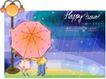 可爱儿童0039,可爱儿童,人物,下雨天 红点雨伞 球形路灯