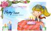 可爱儿童0040,可爱儿童,人物,蜡烛 生日蛋糕 许愿女孩