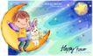 可爱儿童0043,可爱儿童,人物,夜空 月亮 举手