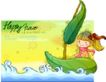 可爱儿童0044,可爱儿童,人物,漂流 树叶 水面