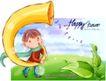 可爱儿童0048,可爱儿童,人物,吹奏 黄色 喇叭