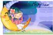 可爱儿童0049,可爱儿童,人物,月亮船 倾听 音乐