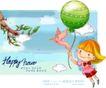 可爱儿童0051,可爱儿童,人物,气球 飞翔 火鸟
