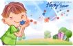 可爱儿童0052,可爱儿童,人物,儿童 手捧鲜花 吹起