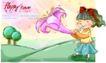 可爱儿童0053,可爱儿童,人物,牵牛花 吹喇叭 蝴蝶结
