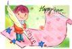 可爱儿童0054,可爱儿童,人物,鹅毛笔 书写 记忆