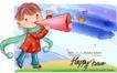 可爱儿童0056,可爱儿童,人物,喇叭筒 叫喊 绿围巾