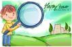 可爱儿童0059,可爱儿童,人物,放大镜 观察 乡间