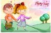可爱儿童0061,可爱儿童,人物,新人 手牵手 绿树