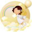 可爱小女孩0203,可爱小女孩,人物,云朵 彩虹 梦幻