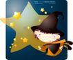 可爱小女孩0231,可爱小女孩,人物,卡通 魔法帽 星星