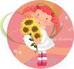 可爱小女孩0236,可爱小女孩,人物,向日葵 鞭子 发髻