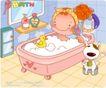 可爱胖女孩0015,可爱胖女孩,人物,鸭子 泡泡浴 刷子