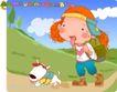 可爱胖女孩0034,可爱胖女孩,人物,爬山的女孩 白色小狗 小山坡
