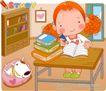 可爱胖女孩0035,可爱胖女孩,人物,书架 学习的女孩 铅笔