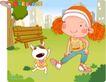 可爱胖女孩0037,可爱胖女孩,人物,做早操的女孩 公园 小狗