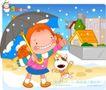 可爱胖女孩0040,可爱胖女孩,人物,下雪了 小雪人 打伞的女孩