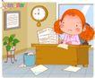 可爱胖女孩0042,可爱胖女孩,人物,功课 做作业 书桌