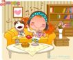 可爱胖女孩0044,可爱胖女孩,人物,躺靠 沙发 睡觉