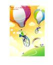 商业寓意插画0002,商业寓意插画,人物,热气球 飘浮 天空