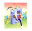 商业寓意插画0021,商业寓意插画,人物,书本 奔跑 轻松