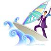 商业寓意插画0034,商业寓意插画,人物,帆板船 迎风男子 海浪