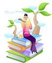 商业寓意插画0036,商业寓意插画,人物,听音乐的男孩 四本书 杯子