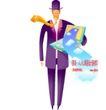 商业寓意插画0047,商业寓意插画,人物,领带 飘舞 绅士