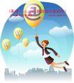 商务工作0017,商务工作,人物,气球 抓住 字母
