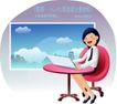 商务工作0030,商务工作,人物,电脑 工作 座椅