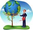 商务工作0031,商务工作,人物,蓝色地球 发芽的树 浇水男孩