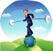 商务工作0032,商务工作,人物,杂技男孩 杠杆 平衡