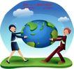 商务工作0036,商务工作,人物,一男一女 椭圆形地球 抢占资源
