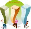 商务插画0143,商务插画,人物,绿色的圆 三个人 顶三堆书