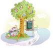 商务风景0005,商务风景,人物,树枝 挂满 礼物