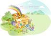 商务风景0032,商务风景,人物,大纸盒 熊娃娃 彩虹