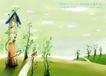 四季风景及儿童0017,四季风景及儿童,人物,小屋 草地 树洞